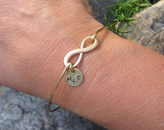 Girlfriend Valentines Gift for Her Under 30 Personalized Infinity Bracelet with Couple Initials from Boyfriend Girlfriend Gift Idea Jewelry