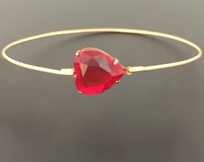 Valentines Red Rhinestone Heart Bracelet, Simulated Birthstone Rhinestone Bangle Bracelet January