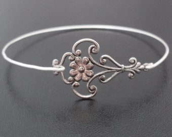 Bangle Bracelet Silver Tone Flower Filigree Bracelet Antique Style Jewelry Unique Bracelet for Women Unique Jewelry Unique Bangle