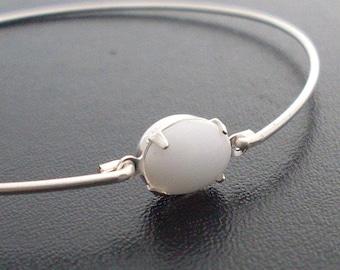 White Bangle Bracelet White Bracelet for Women Silver White Glass Bangle White Jewelry Simulated White Stone Bracelet Sim White Stone Bangle