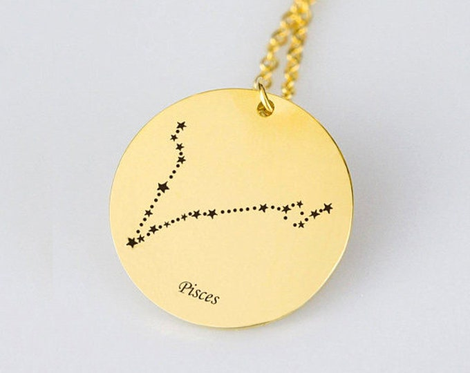 Pisces Necklace Gold Pisces Zodiac Necklace Pisces Zodiac Sign Necklace Star Pisces Zodiac Gift Horoscope Necklace Horoscope Sign Necklace