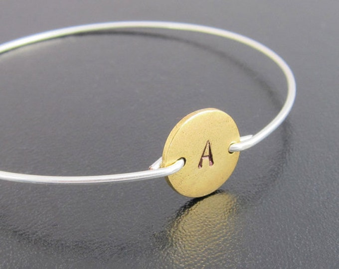 Two Tone Bracelet, Initial Bangle Bracelet, Gold and Silver Bracelet, Two Tone Jewelry, Silver and Gold Bracelet