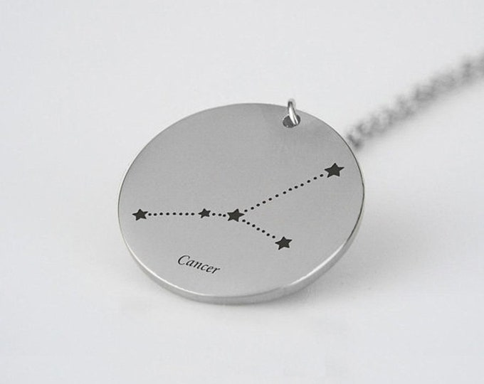 Cancer Constellation Necklace Silver Tone Cancer Pendant Necklace Cancer Gift Cancer Astrology Necklace Celestial Cancer Star Sign Necklace