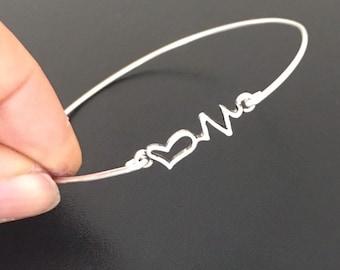 Heartbeat Charm Bracelet Silver Tone Heartbeat Bracelet Heartbeat Bangle Heart Bangle Bracelet Heartbeat Jewelry Heart Jewelry