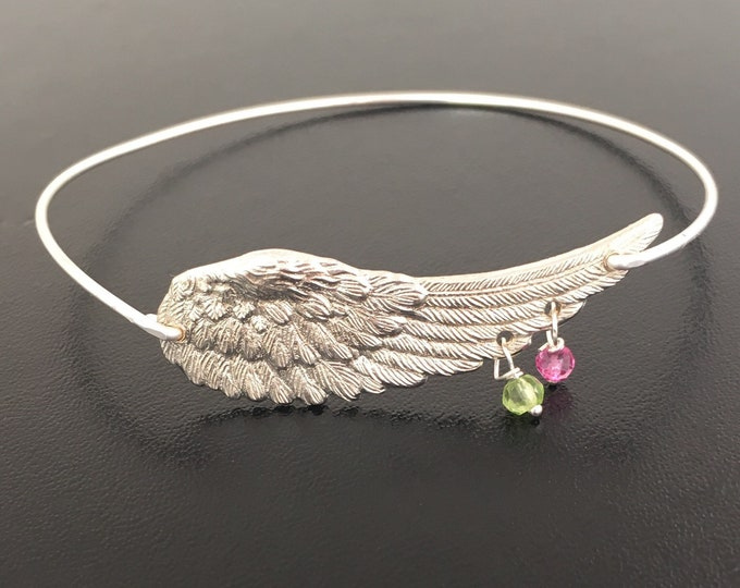 Personalized Angel Wing Bracelet Mother Birthstone Bracelet for Mom Grandma Nana Sister Women Birthstone Jewelry Mom of Two Gift Mother of 2