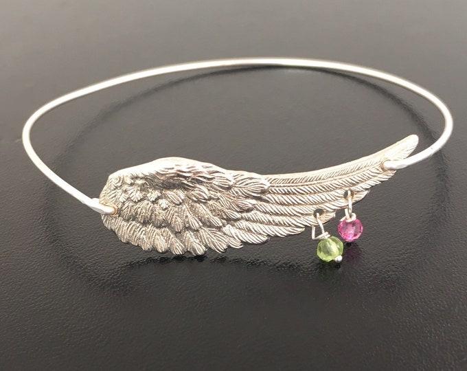 Personalized Angel Wing Bracelet Mother Birthstone Bracelet for Mom Grandma Nana Sister Women Birthstone Jewelry Mom of Two Gift Mother of 2