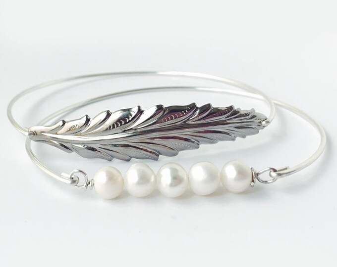 Matron of Honor Gift Jewelry Bracelet from Bride for Sister Best Friend Maid of Honor Gift Bracelet Jewelry Cultured Freshwater Pearl & Leaf