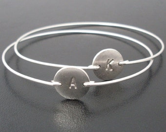 Friendship Bracelets for 2 Silver Plated Disc Bangles Personalized Gift for Best Friend Female Christmas Gift Friendship Gift for Women