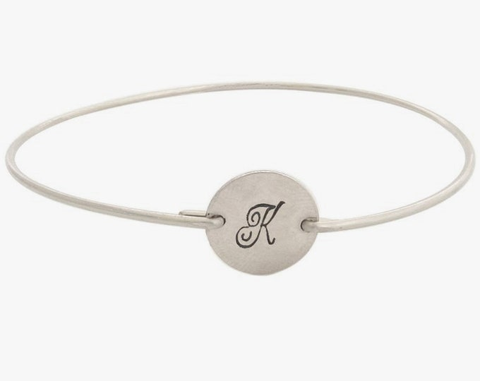 Sterling Silver Initial Bangle for Women Christmas Gift Idea for Her Coworker Best Friend Teen Girl Office Staff Girlfriend Sister in Law