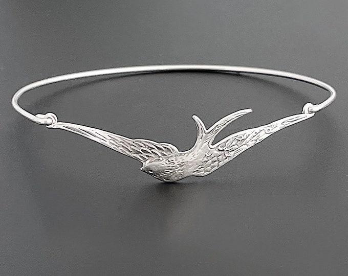 Sterling Silver Bird Bracelet Bangle for Women Bird Gift for Mom Grandma Teacher Nature Lover Gift for Her Nature Lover Jewelry Bird Jewelry