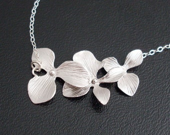 Orchid Necklace, Bridesmaid Necklace Gift, Silver Plated Orchid Cascade Necklace, Sterling Chain, Bridesmaid Gift, Flower Necklace for Women