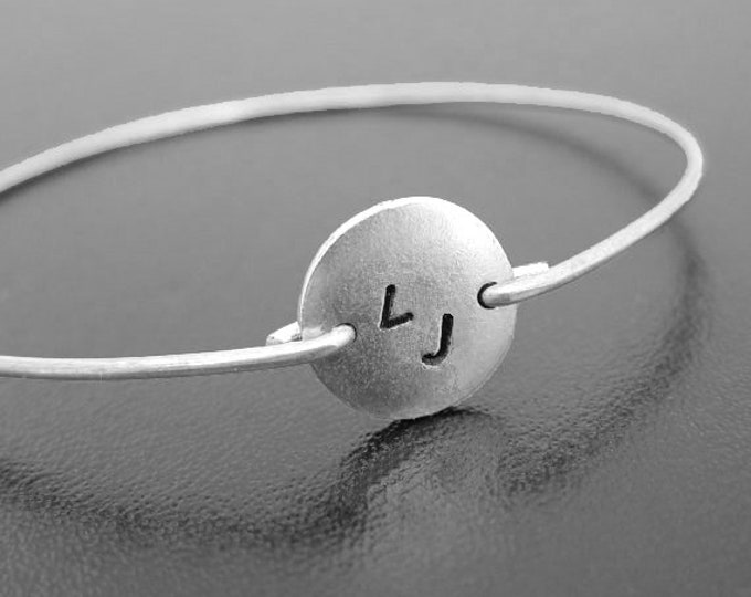 2 Initial Monogram Bracelet for Women Bridesmaid Gift Idea From Bride, 2 Initial Jewelry Two Initial Bracelet Personalized Bangle Bracelet