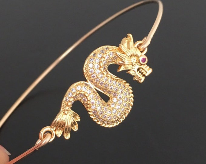 Dragon Bracelet for Women with Crystal Eyes Dragon Jewelry Chinese New Year Gift Good Luck Chinese Bracelet Theme Dragon Lover Dragon Bangle