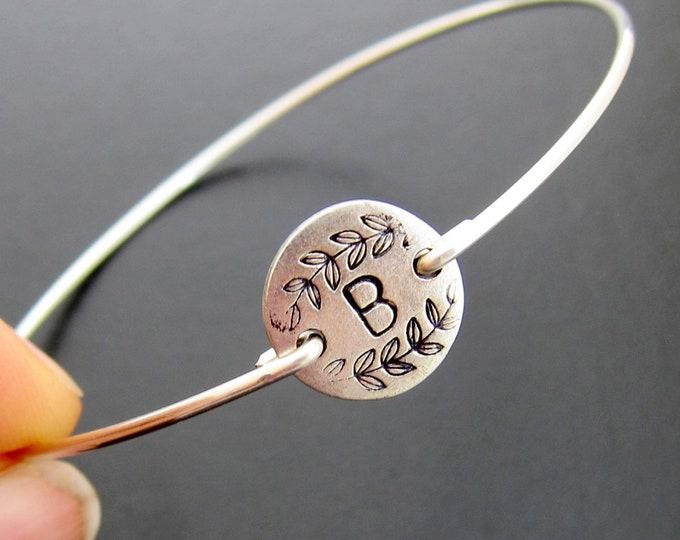 Initial Bracelet Bangle Vine Motif Monogram Bracelet for Women Christmas Gift for Art Teacher Gift for Artist Gift Art Lover Artist Bracelet