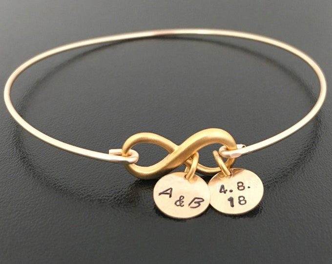Personalized Infinity Bracelet for Women 24k Gold Vermeil Infinity Dainty Wedding Bracelet for Bride Wedding Date Gift Wedding Date Jewelry