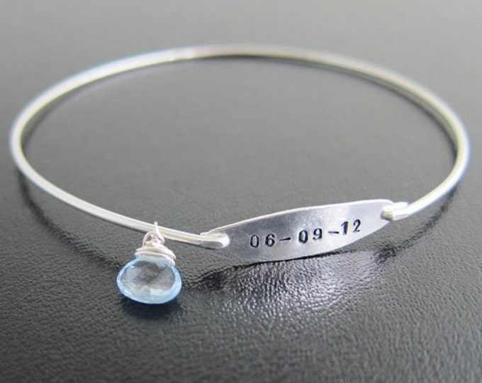 Something with the Date, Blue Bride Bracelet Blue Bride Gift Blue Wedding Bracelet Blue Jewelry Blue Bracelet Bridal Shower Gift Jewelry