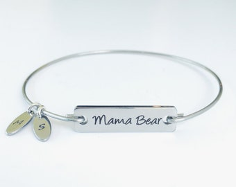 Mama Bear Bracelet Charm Bangle Birthday Gift for Mom Christmas Gift for Mom from Son or from Daughter Personalized Mama Bear Jewelry Mamma