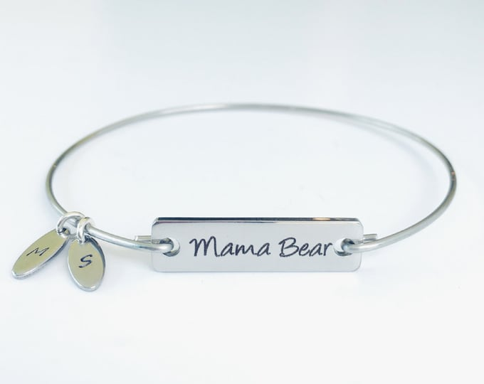 Mama Bear Bracelet Charm Bangle Birthday Gift for Mom Mother Day Gift for Mom from Son or from Daughter Personalized Mama Bear Jewelry Mamma