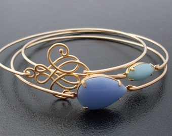 Blue Stack Bracelet Set Blue Bracelets for Women Bracelets for Bride Sky Blue Jewelry Gold Tones Blue Bangle Bracelet Set Blue Skies Ahead