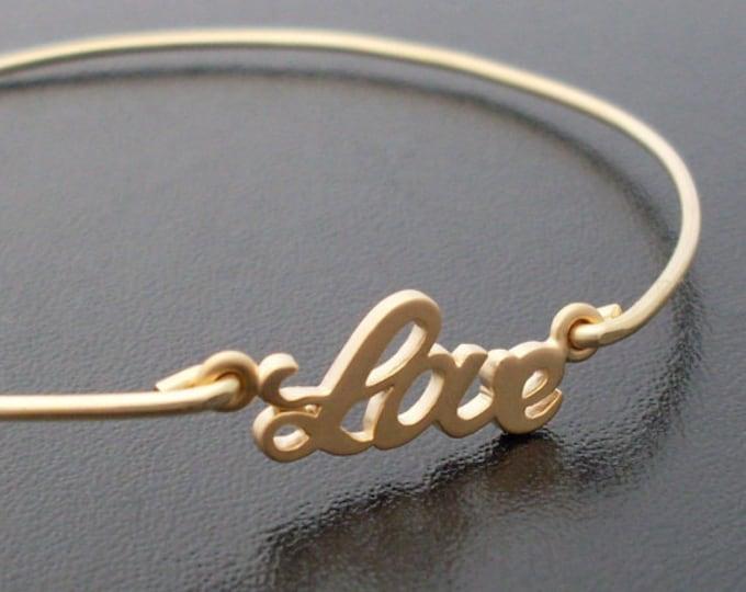 Love Bangle Bracelet for Women, Gold Plated Love Charm Bracelet, Love Womens Bracelet Bridesmaid Bangle Bracelet Bridesmaid Gift on a Budget