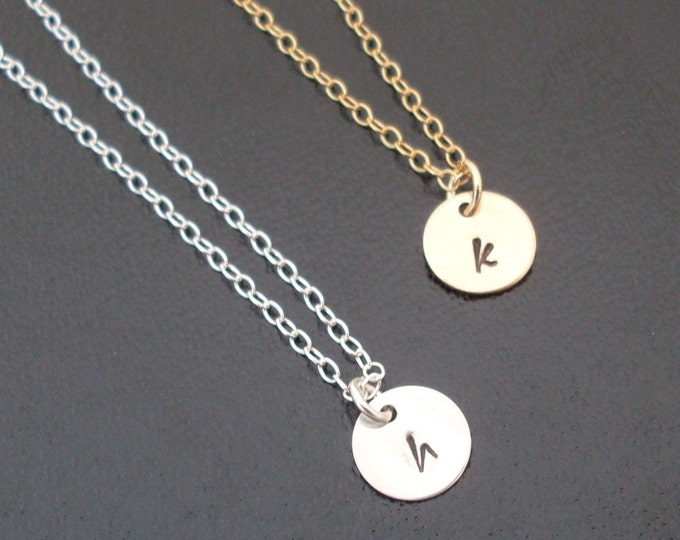 Mini Initial Necklace Personalized Necklace Monogram Necklace 14k Gold Filled Initial Necklace or Sterling Silver Initial Necklace Custom