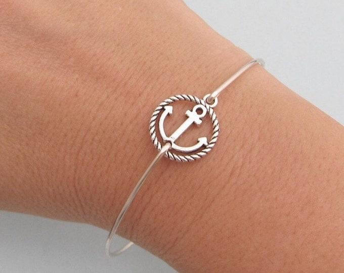 Anchor Bracelet Silver Tone Anchor Charm Bracelet Anchor Jewelry Women Navy Mom Bracelet Navy Girlfriend Bracelet Nautical Gift for Woman