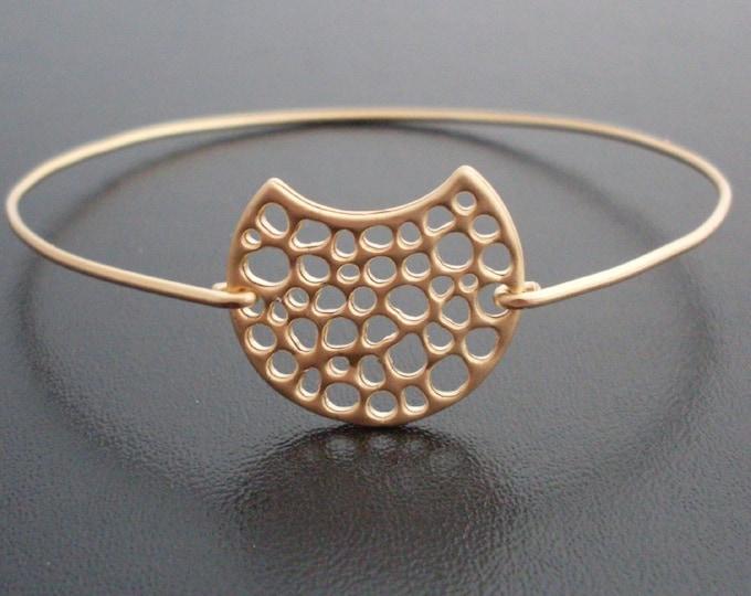 Gold Moon Bracelet, Gold Moon Charm Bracelet, 14k, Gold Charm Bracelet, Gold Moon Jewelry, Bangle Charm Bracelet, Gibbous Moon Phase