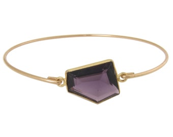 Amethyst Bracelet for Women Gold Fill Bangle February Birthstone Jewelry Birthstone Bracelet Purple Stone Bracelet Purple Gemstone Bracelet