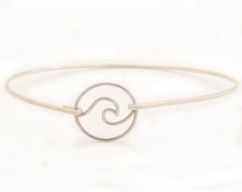 Ocean Wave Bracelet Sterling Silver Beach Wave Bracelet Ocean Wave Charm Bangle Ocean Wave Jewelry Ocean Bracelet Ocean Jewelry for Women