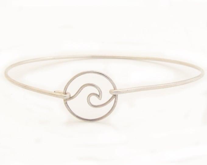 Ocean Wave Bracelet Sterling Silver Beach Wave Bracelet Ocean Wave Charm Bangle Ocean Wave Jewelry Ocean Bracelet Ocean Jewelry for Women
