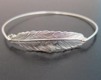 Feather Bracelet, Feather Jewelry, Bohemian Jewelry, Boho Jewelry, Silver Feather Bangle Bracelet, Hippy Jewelry, Hippy Bracelet
