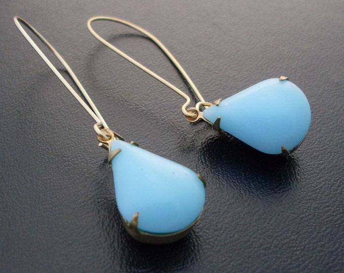 Blue Teardrop Earrings Blue Bridesmaid Earrings Long Blue Earrings Dangle Blue Wedding Earrings Bride Bridal Earrings Blue Tear Drop Earring