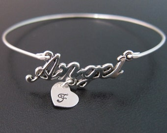 Personalized Angel Bracelet, Angel Bangle, Custom Angel Jewelry, Initial Charm Bracelet, Initial Charm Bangle