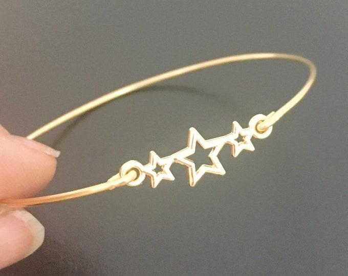 Star Bracelet, Star Bangle, Star Jewelry, 3 Gold Stars Jewelry, Stary Night Bracelet