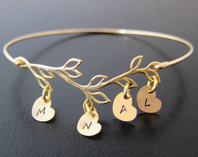 Mom Mother Day Gift from Daughter, Son, Kids, Family Tree Bracelet with 1 to 9 Initial Charms Mother Gift for Mother in Law Frosted Willow