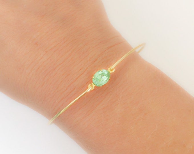 Light Green Rhinestone Simulated Peridot Bracelet Women Simulated August Birthstone Bracelet August Birthday Gift Simulated Peridot Bangle
