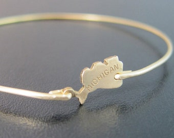 Michigan State Bracelet, State of Michigan Jewelry, Gold Michigan Bangle Bracelet, State of Michigan Bracelet, Michigan State Jewelry