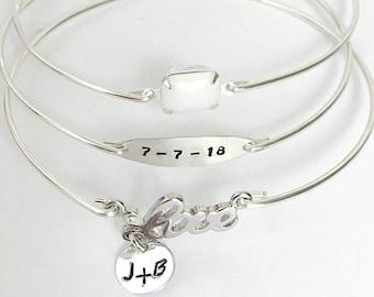 Wedding Bracelet for Bride Mom Woman Sister White Wedding Jewelry Anniversary Bracelet Bridal Shower Gift for Sister Daughter Best Friend