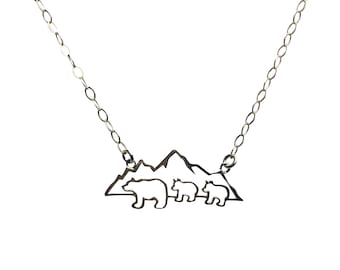 Mountain Mama Bear with 2 Cubs Necklace Sterling Silver Mama Bear Necklace  Two Cubs Birthday Gift for Mom from Sons Daughters Children Kids