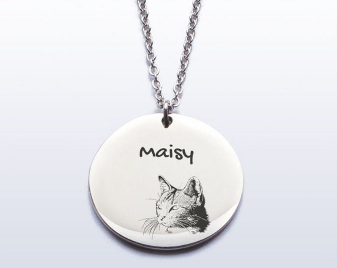 Cat Name Necklace Personalized with Cat's Name Gift for Cat Lover