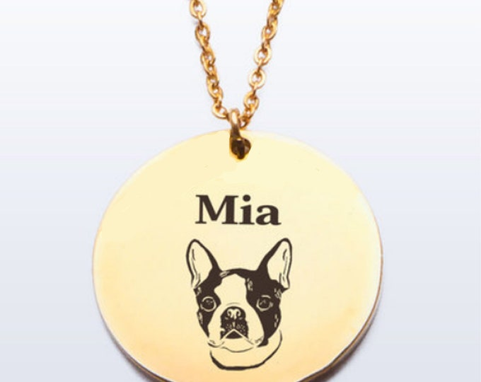 Boston Terrier Name Necklace Personalized with Dog's Name Gift for Boston Terrier Lover Dog Lover Terrier Owner