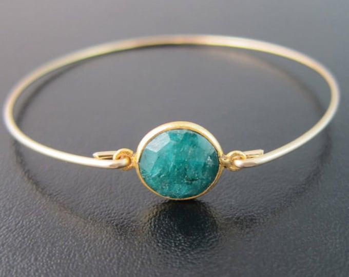 Green Emerald Bracelet for Women 14k Gold Fill Emerald Bangle Gemstone Bracelet Emerald Jewelry Birthstone Jewelry May Birthstone Bracelet