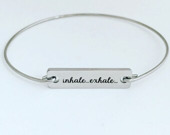 Inhale ... Exhale  Bracelet Meditation Gift Idea for Women for Her Yoga Bracelet Relaxation Jewelry Meditate Jewelry