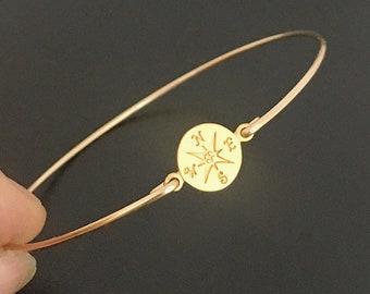 Dainty Compass Bracelet for Women Traveler Gift Idea for Her Traveler Bracelet Traveler Jewelry Compass Bangle Bracelet Navigation Jewelry