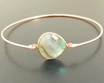 Labradorite Bracelet for Women 14k Rose Gold Filled Gift for Mom Labradorite Jewelry Gemstone Bangle Labradorite Bangle