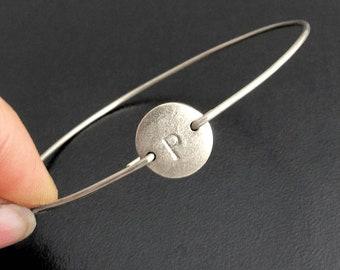 Silver Initial Bracelet Silver Monogram Bracelet Personalized Silver Bracelet Bangle Silver Bangle Frosted Willow Custom Bracelet for Women