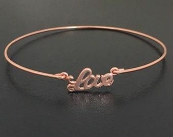 Love Bangle Bracelet for Women Rose Gold Plated Love Charm Bracelet Bridesmaid Gift Idea Rose Gold Bridesmaid Bracelet Bridesmaid Jewelry