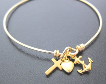Hope Love Faith Dangle Bracelet in Gold Filled with Anchor, Heart and Cross Charms, Religious Jewelry