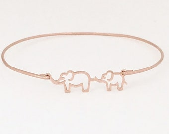 Mama and Baby Elephant Bracelet Rose Gold Plated Bracelet for Women Mothers Day Gift New Mom to Be Daughter in Law Mothers Day Jewelry Wife