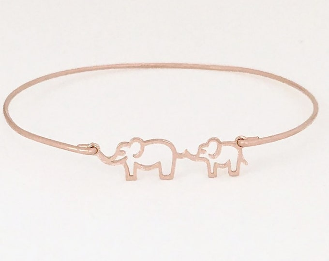 Mama and Baby Elephant Bracelet Rose Gold Plated Bracelet for Women Valentines Day Gift for Mom to Be Valentines Day Gift for Her Jewelry